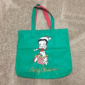 Betty Christmas with Betty Boop green redTote bag